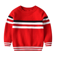 2019 New Boys Girls Sweater Children Stripe Print Round Neck Long Sleeve Pullover Clothes Autumn Cotton Knitted Sweater for Kids round neck camo print knitted pullover