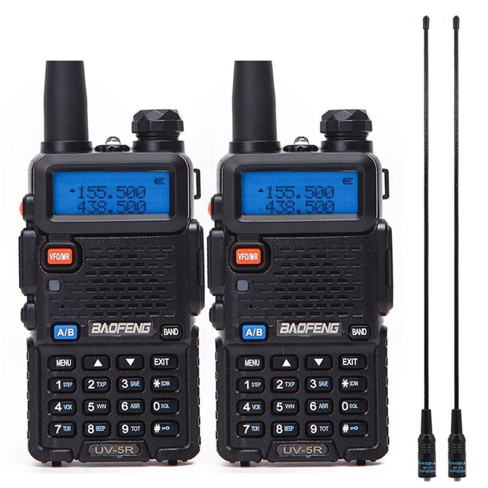 2 шт. Baofeng BF-UV5R Любительское радио портативная рация Pofung UV-5R 5 Вт VHF/UHF радио двухдиапазонное двухстороннее радио UV 5r CB радио - Цвет: black add 771antenna