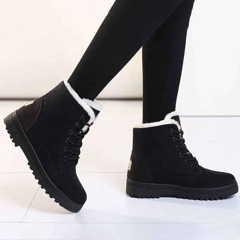 Botas femininas kadın botları 2019 yeni kış çizmeler kadın ayakkabıları sıcak kar botları moda kadın yarım çizmeler akın kış ayakkabı kadın