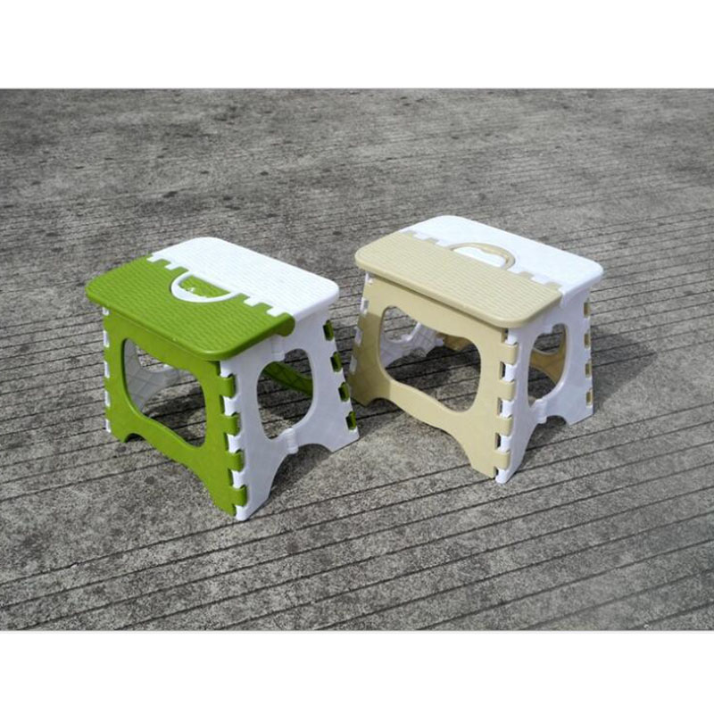 1pcs Portable Thickening And Strengthening Bamboo-Woven Plastic Beige Green Outdoor  Children'S Folding Benches And Benches
