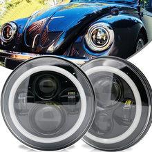 Hot Selling 2pcs 7Inch Headlamps with Halo Ring Amber Turn Signal For Jeep lada niva 4x4 suzuki samurai