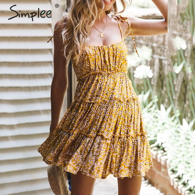 Simplee Sexy Floral Print Short Dress Women Summer Buttons Plus Size Short Female Beach Dress Holiday Female Elegant Vestidos