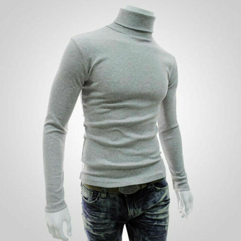 Fashion Mens  Roll Turtle Neck Pullover Knitted Jumper Tops Sweater Shirt