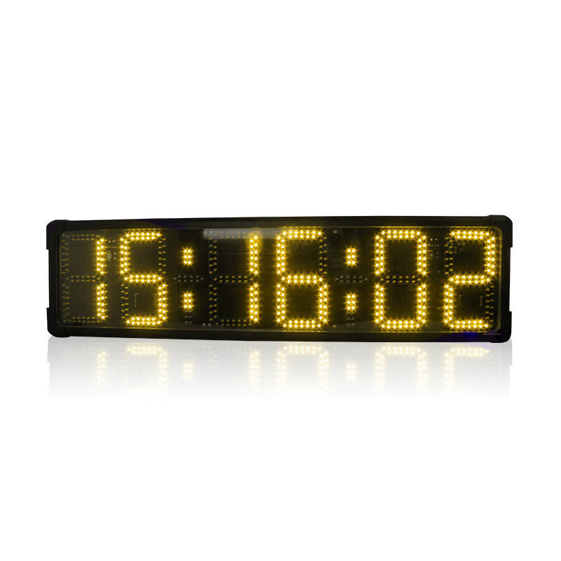 8 Inch 6 Digits Marathon Clock Double Sided Large Led Outdoor Clock Waterproof Real Time Clocks