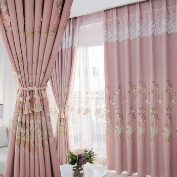 Curtains Modern Minimalist Embroidery Curtains for Living Room and For Bedroom Curtain Window Screen French Window Curtains modern simple cotton linen stereo embroidery curtain dolly curtain screen american country curtains for living room and bedroom