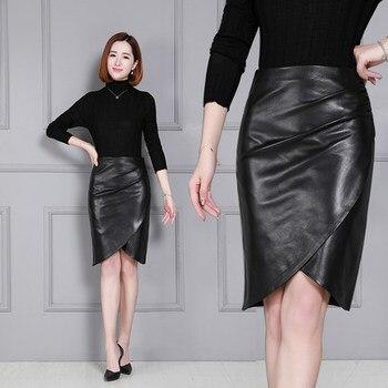 2020 Women New Real Genuine Sheep Leather Skirt K20 2020 new fashion real genuine sheep leather skirt g16
