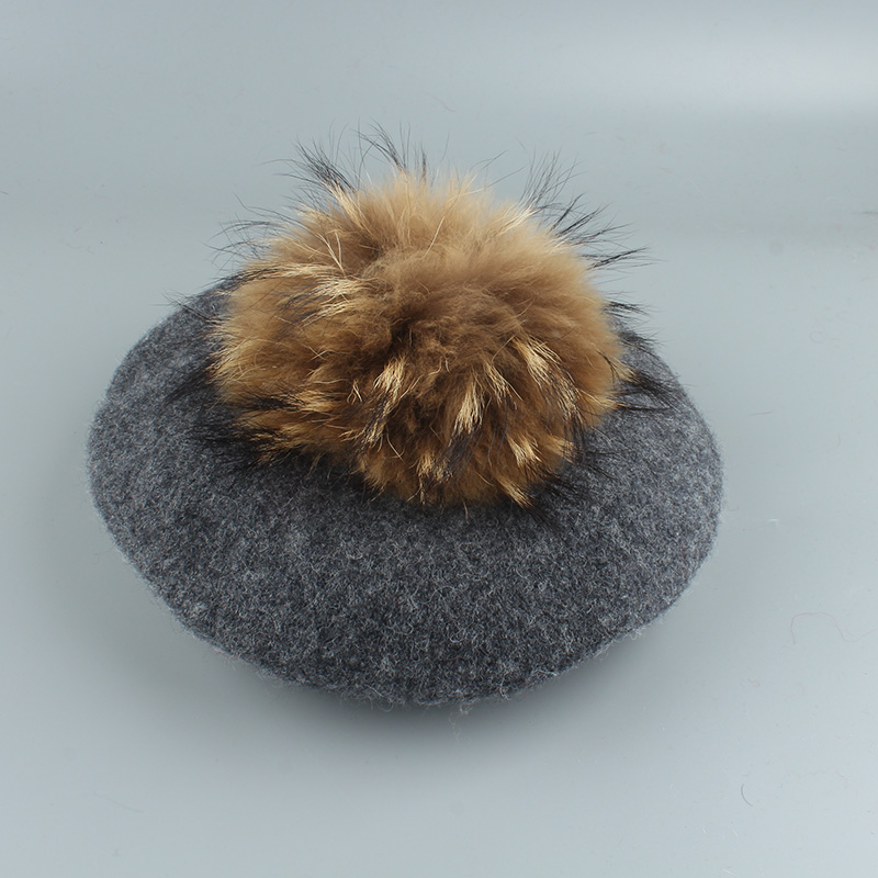 2020 New Big Real Fur Pompom Beret Women Vintage Artist Beret Hat Girls Autumn Spring Wool Knitted Cap