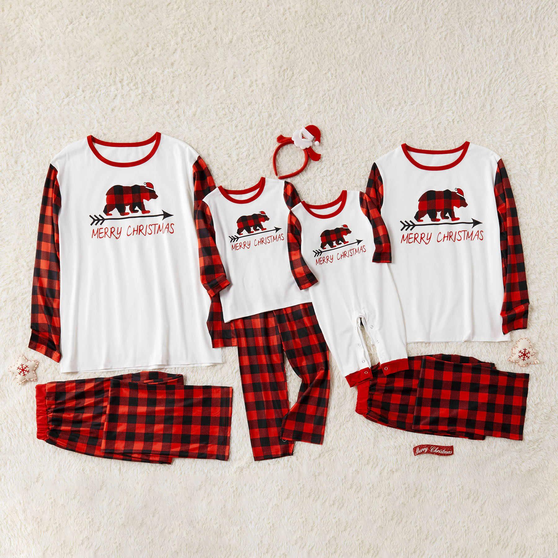 Kotak-kotak Baju Tidur Keluarga Terlihat Natal Piyama Ibu Ayah dan Aku Yang Sesuai dengan Pakaian Ibu Putri Ayah Anak & Bayi Piyama set