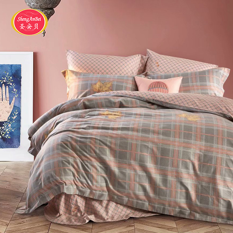 Bedding Article Korean-style Plaid Twill Cotton Pure Cotton Brushed Simple Fitted Bed Sheet Bed Skirt Four-piece Bed Sheet Set W