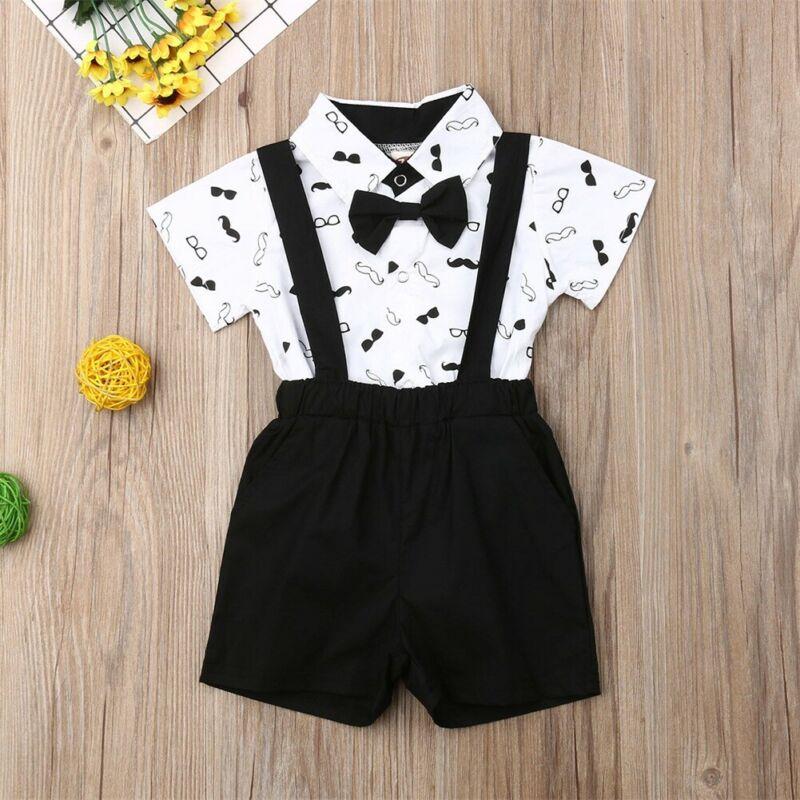Dziecko dwuczęściowe garnitury dzieci formalne Fantasy garnitur chłopiec sukienka z kokardą dziecko koszule body + ogólnie chłopcy odzież weselna letnia odzież