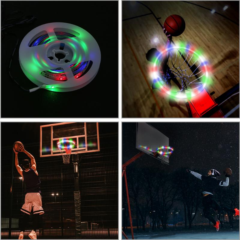 1 PCS LED Basket Hoop Solar Basketball Rim Playing At Night Shooting Accessories Attachment for Kids Adult Ball Sport