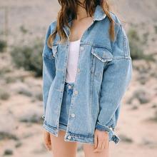 Women Basic Coat Denim Jacket Spring Winter Long Sleeve Jeans Femme Loose Fit Casual Style