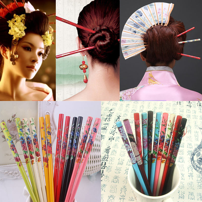 Ethnic Style Flower 2PCS Handmade Colorful Natural Wood Vintage Painting Hairpin Hair Stick Bride Print Japanese Hairpin