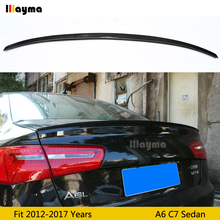 цена на S6 style Carbon fiber rear trunk spoiler For Audi A6 C7 Sedan 2012-2017 year Car spoiler Wing (Not fit Sline s6 rs6)