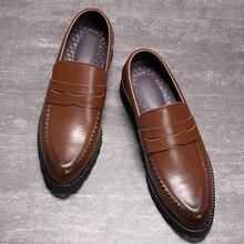 Zapatos de vestir de cuero genuino para hombre, calzado Formal sin cordones para negocios y boda, Zapatos tipo Oxford para hombres, 2020