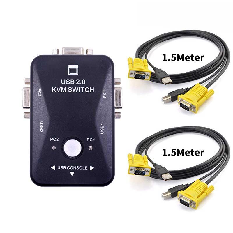 Переключатель KVM Ingelon, кабель vga, USB 2,0, сплиттер для USB клавиатуры, мыши, монитора, адаптер, usb переключатель принтера