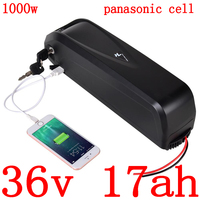 36V 500W 1000W ebike battery 36V 17AH lithium ion battery 36V electric bike battery use panasonic cell with 30A BMS+2A charger