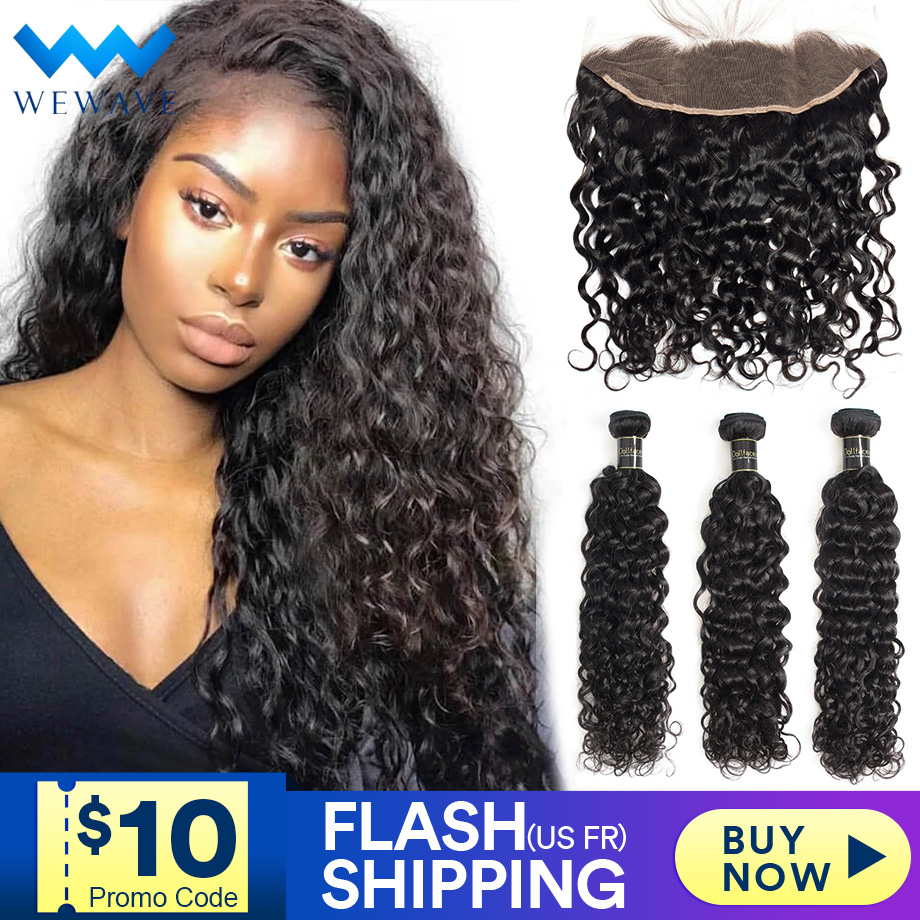28 30 Inch Water Wave Bundles With Frontal Human Hair 3 4 Curly Extension Brazilian Deep Wet And Wavy Weave With Hd Lace Front