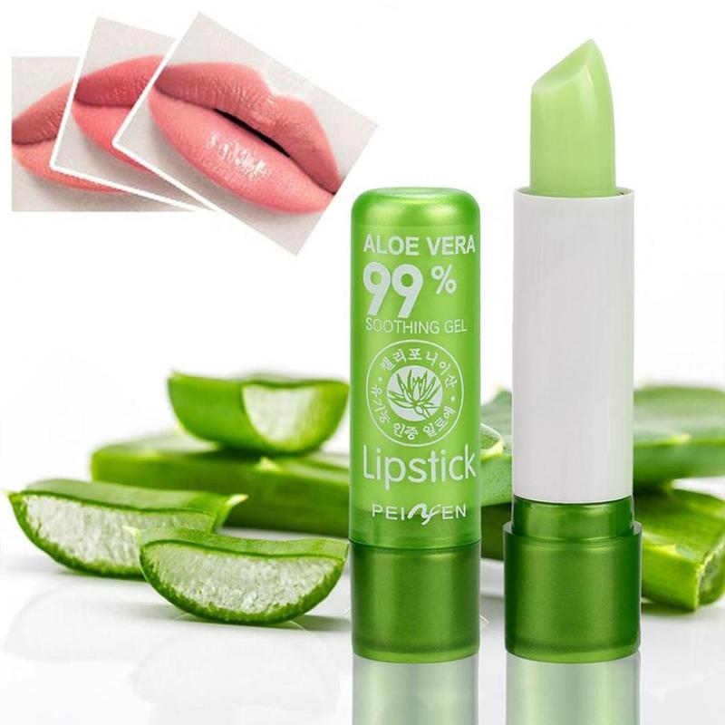 Natural Aloe Vera Lip Balm Temperature Color Changing Long Lasting Moisturizing Lipstick Makeup Lips Protection Makeup