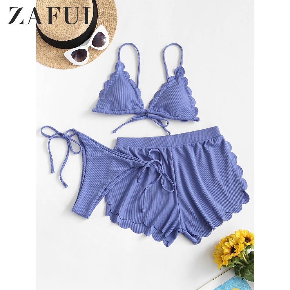 ZAFUL Sexy Ribbed Scalloped Three Pieces String Bikini Swimwear Pit Cut Flower Cup Split Bikini Triangle Padded Plain Bikini2020