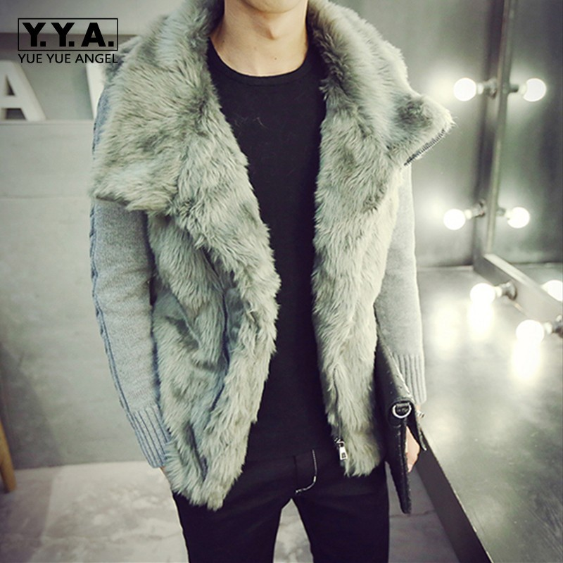 Autumn Winter Faux Patchwork Knitting Sleeve Mens Casual Coats Fashion Slim Fit Thick Warm Fur Collar Male Short Sweatercoats