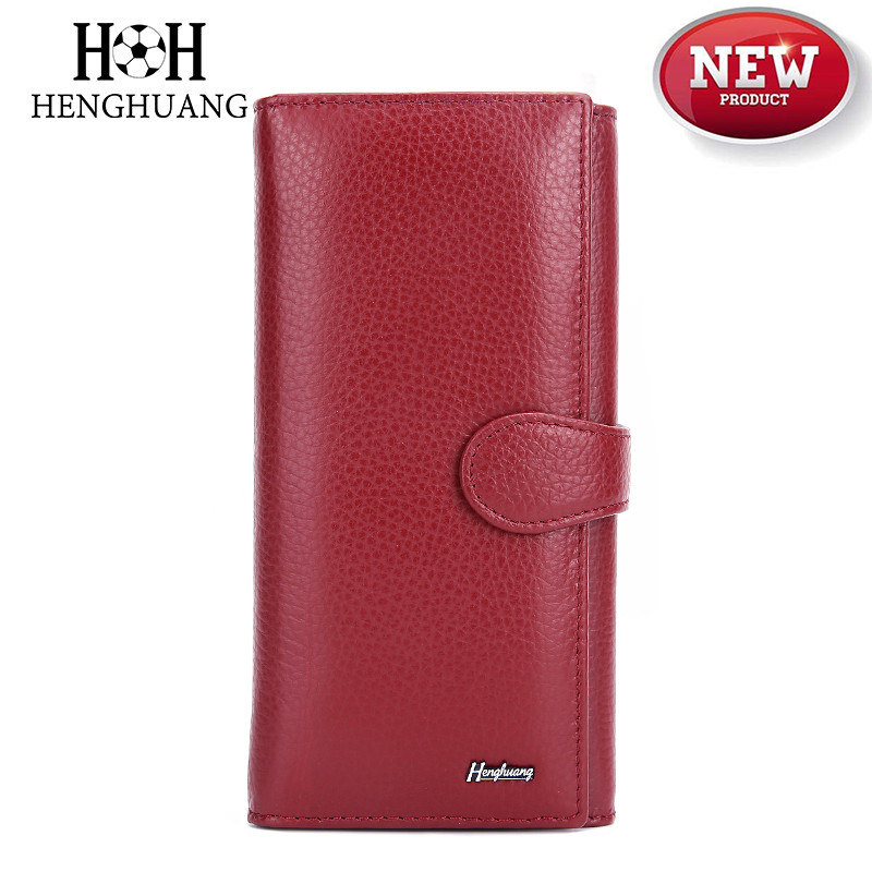 HH 2019 New Genuine Leather Women's Wallet Female Clutch Luxury Brand Cowhid Money Bag Zipper Coin Purse ID Card Holder Ladies P
