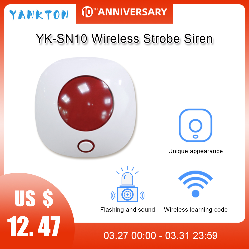 Wireless Siren 433MHz Alarm Mini Horn Siren For Home Security Burglar Alarm Sound System Alarm 110dB Light Flash Strobe Siren