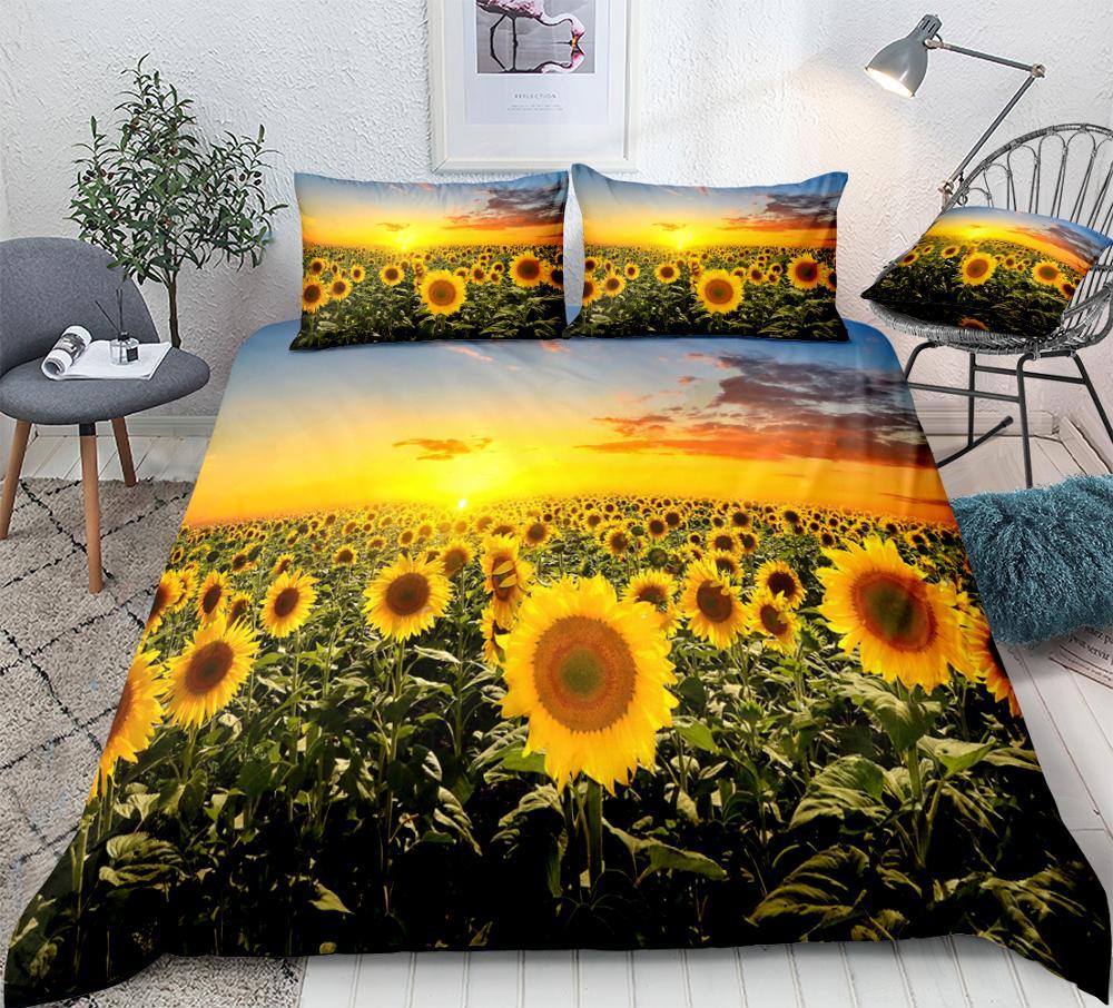 3d Sunflower Bedding Sunset Sunflower Sea Duvet Cover Set Boho Landscape Quilt Cover King Sunshine Flowers 3pcs Kids Dropship Bedding Sets Aliexpress
