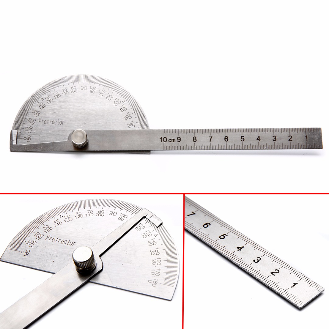 180 Degree Protractor Angle Ruler Rotary Measuring Tool Stainless Steel
