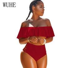 WUHE Summer Boho Sexy Off Shoulder Sleeveless Ruffles Two Pieces Sets Bodysuits Women Beachwear Swiming Suit Womens Pluaysuits