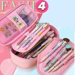 Uroczy piórnik Kawaii dzieci dziewczyna ołówek wielofunkcyjna torba pokrowiec na długopis etui przybory szkolne dla uczniów papiernicze prezenty