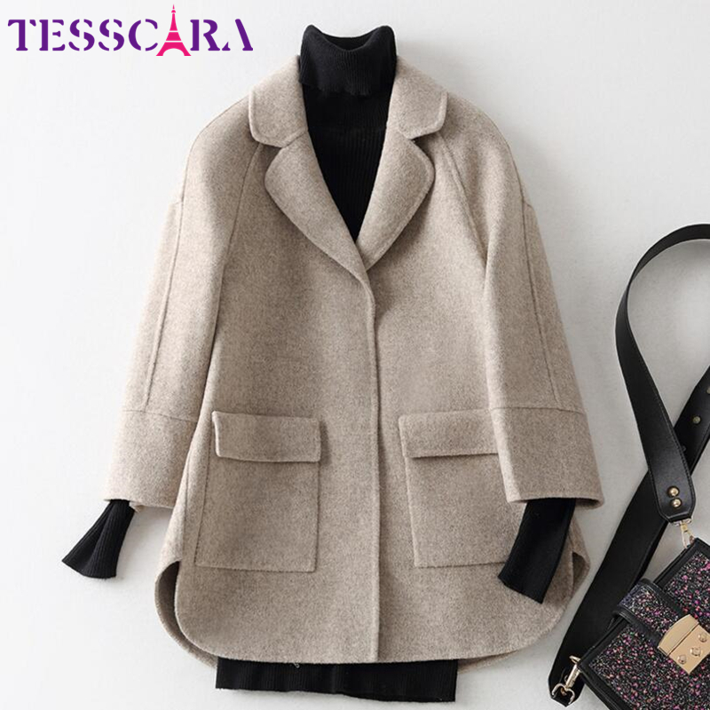 TESSCARA Women Autumn & Winter Soft Cashmere Basic Jacket Coat Female Wool Blend Overcoat Office Cloak Jackets Outerwear & Coats