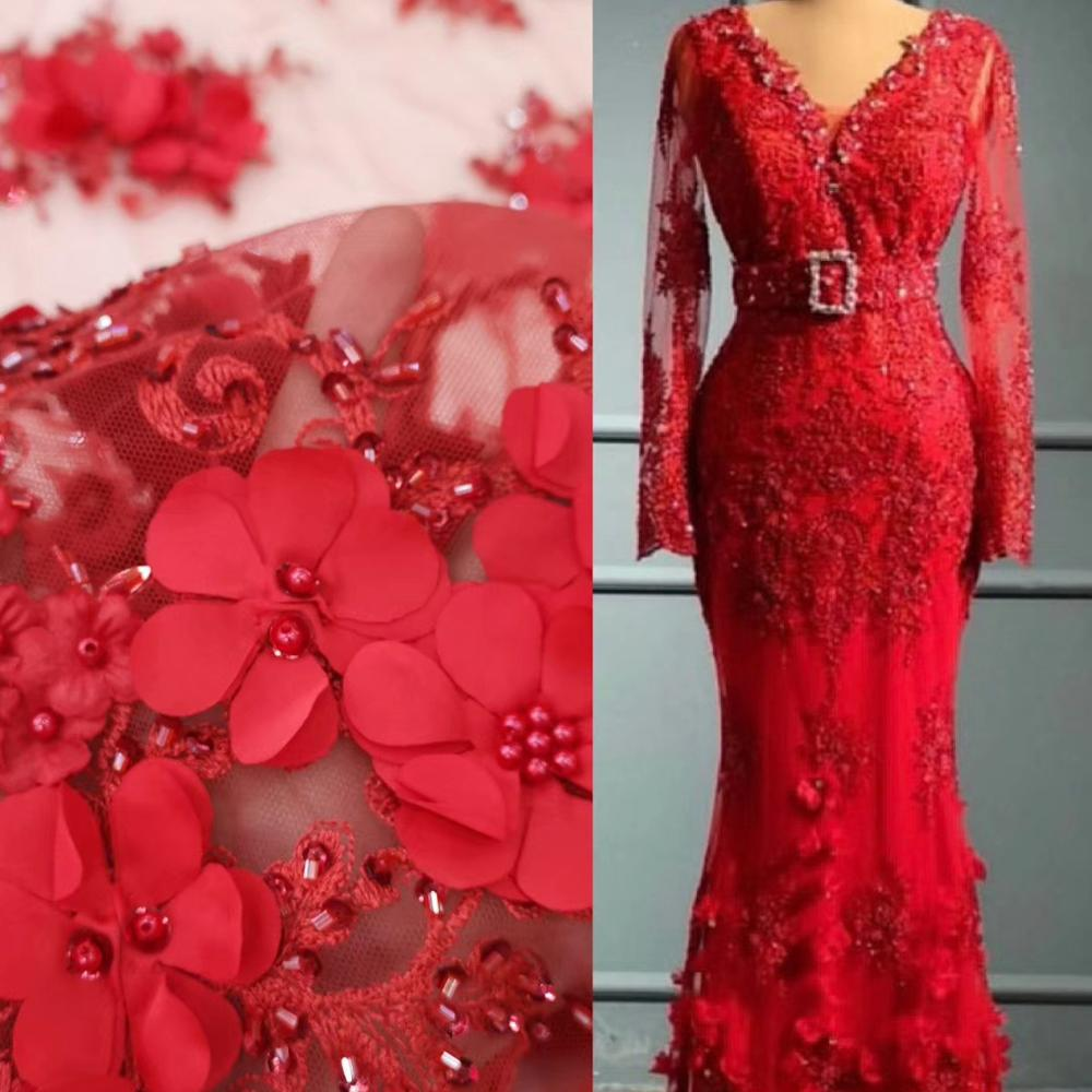 Use Our Fabric To Do Bespoke Evening Dress Attractive Red Handmade Flowers Negotiate Price Is Not Real Price