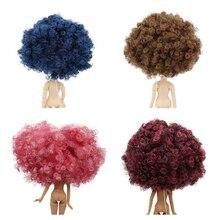 Blyth boneca gelo rbl couro cabeludo e cúpula peruca afro cabelo encaracolado sem franja para diy personalizado