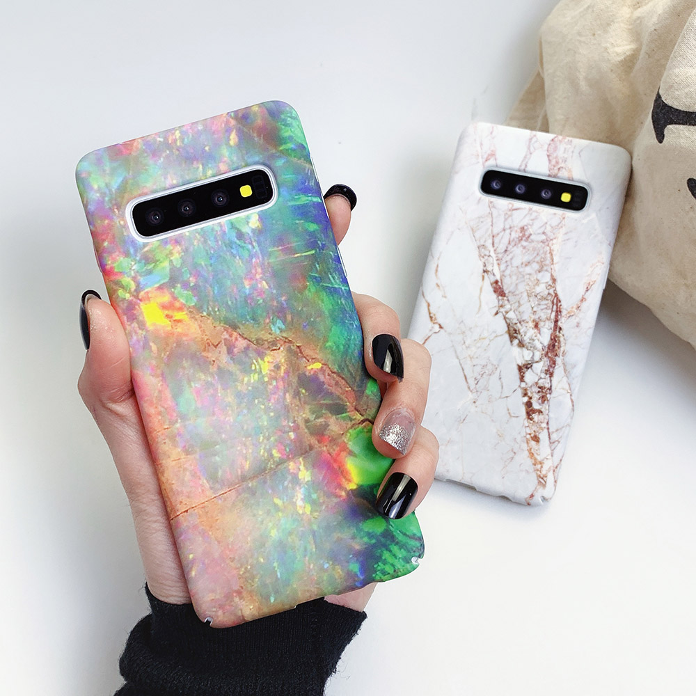 Classic Marble Phone Case For Samsung Galaxy S20 S10 S10e S9 S8 Plus Note 10 9 PC Hard Luxury Full Body Phone Back Cover