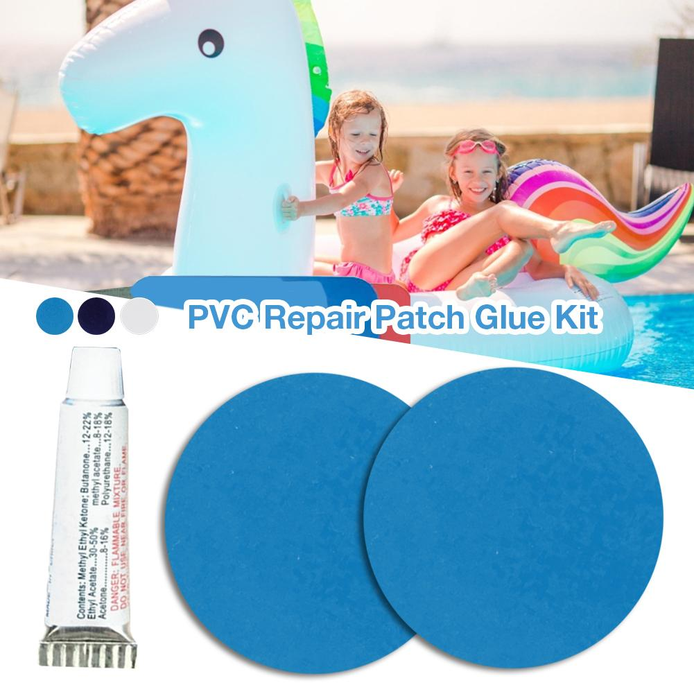 Durable 21-gauge PVC 3 Pieces Light Blue Circular Repair Patches For Inflatable Rubber Boat Pools Float Air Bed Dinghies