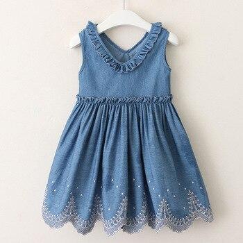 Moda verano niños niñas Casual Mulberry cuello pico Denim chaleco vestido