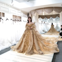 JUSERE vestido de noiva golden Wedding Dress sweetheart Long Sleeve Lace Embroidery Beaded Chapel Train Bridal Gowns 2020