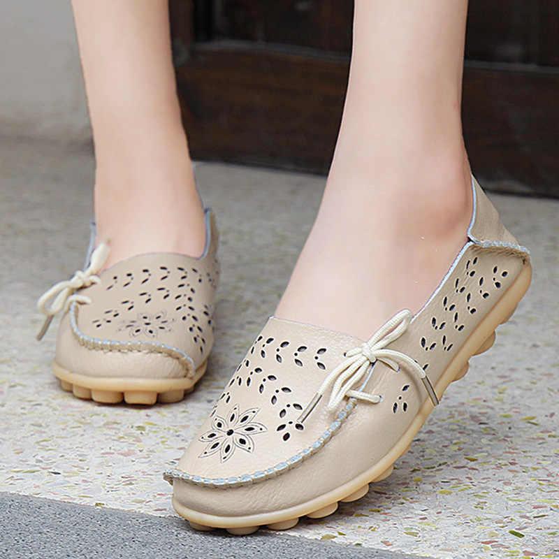 ฤดูใบไม้ผลิรองเท้าผู้หญิงรองเท้าหนังแท้รองเท้าแฟชั่นหญิง Cutout บัลเล่ต์ Flats Loafers สุภาพสตรีเรือรองเท้า