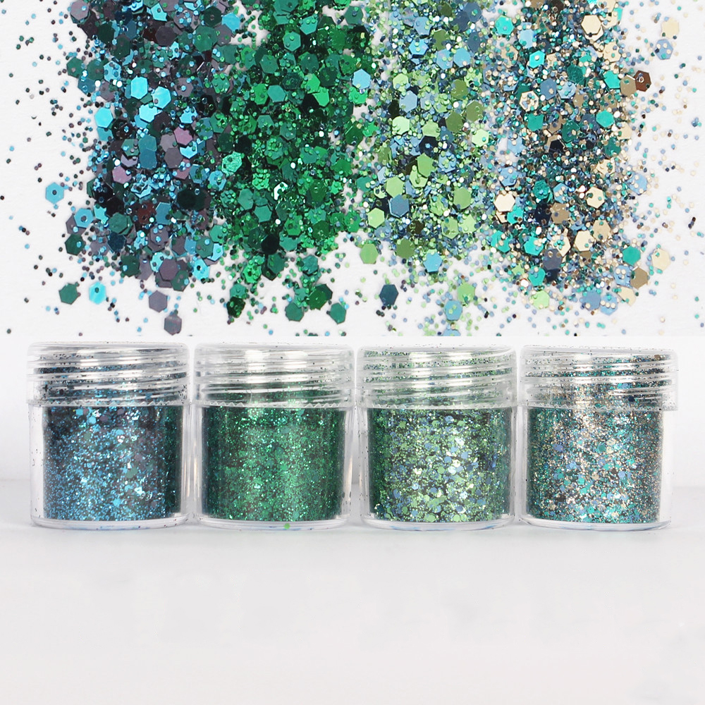 4Pots Epoxy Resin Craft Filling Materials Green Shinning Glitter 1mm Sequin Mixed For Diy Making Bling Bling Resin Art Pigment