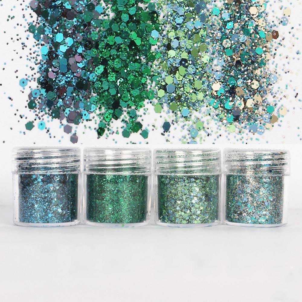 4Pots Epoxy Resin Craft Filling Materials Green Shinning Glitter 1mm Sequin Mixed For Diy Making Bling Bling Resin Art Pigment