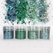 4 ポットエポキシ樹脂クラフト充填材グリーンシャイニンググリッター 1 ミリメートルスパンコール混合 diy の意思のためケバケバ樹脂アート顔料