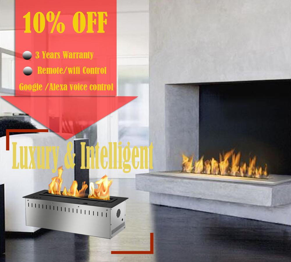 On Sale  18 Inch Bio Ethanol Chimney Liquid Alcohol Fireplace Voice Controled Burner Insert