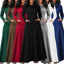 Rubilove Women Warm Dress With Pocket Casual Solid Long Sleeve Vintage Maxi Robe Bow Neck Elegant Vestidos Fema