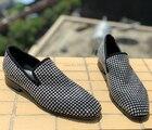 Новое поступление вечерние мужские туфли дышащие повседневные мужские лоферы ручной работы с белыми кристаллами удобные мужские свадебн... - 2
