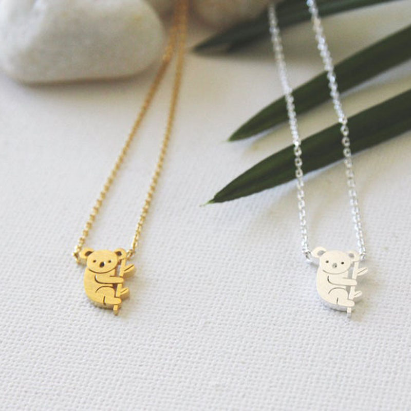 Tiny Cute Koala Bear Necklace Stainless Steel Collarbone Necklace Australian Animal Women's Fashion Accessories Friendship Gifts