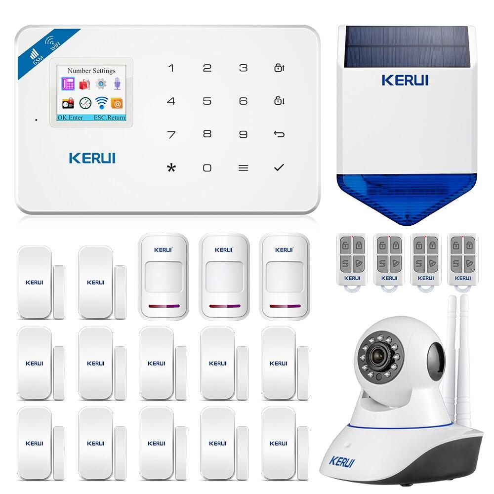 2019 KERUI W18 WIFI GSM podwójny System alarmowy kontrola aplikacji 1.7-calowy kolorowy ekran z bezprzewodowym czujnik ruchu pir Alarm antywłamaniowy w domu