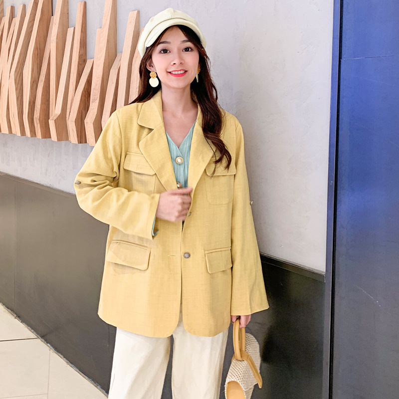 Casual Temperament Ladies Jacket 2019 New Autumn Solid Color Personality Women's Blazer Fashion Loose Office Small Suit
