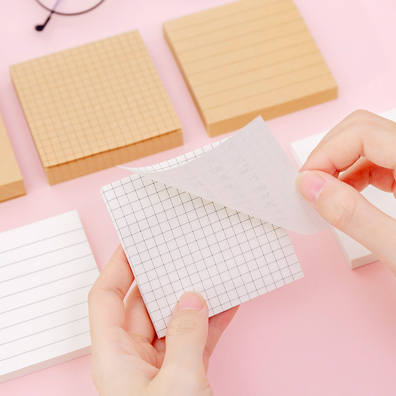 80 Sheets Creative Kraft Paper Convenience Note Blank Grid Horizontal Note Memo Pad Student Message Pasted Notepad