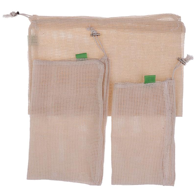 3PCS/Set Washable Drawstring Organizer Mesh Bag 3Sizes Eco Reusable Produce Bags
